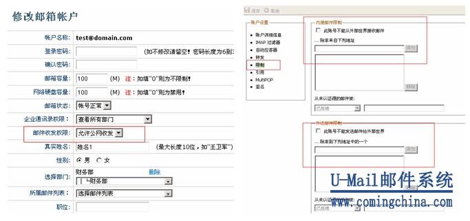U-Mail邮件系统收发权限管理图